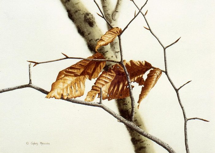 Nature Greeting Card featuring the painting In The Winter Breeze by Conrad Mieschke