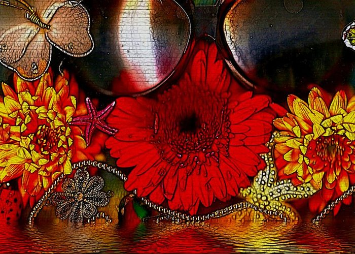 Water Greeting Card featuring the mixed media In The Wood Of Fantasy By The Water by Pepita Selles