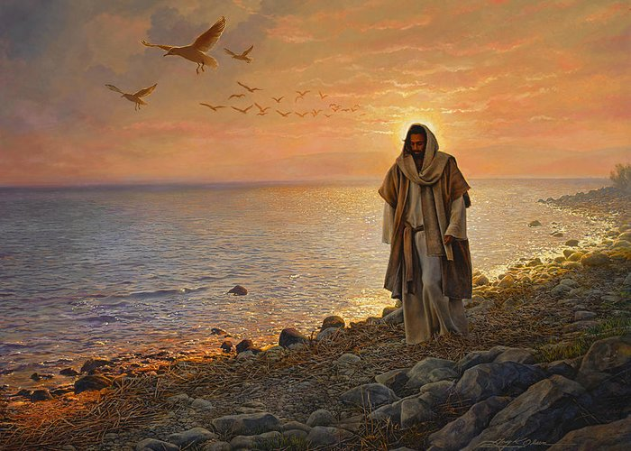Jesus Greeting Card featuring the painting In the World Not of the World by Greg Olsen