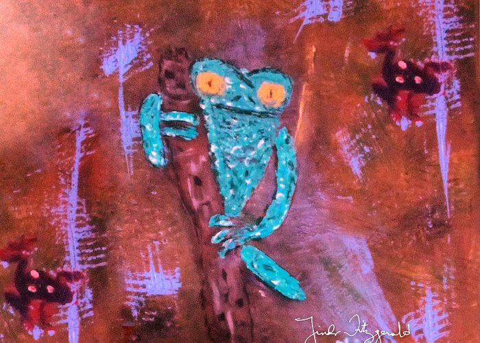 Animals Frogs Greeting Card featuring the painting In The Trees by Linda Fitzgerald