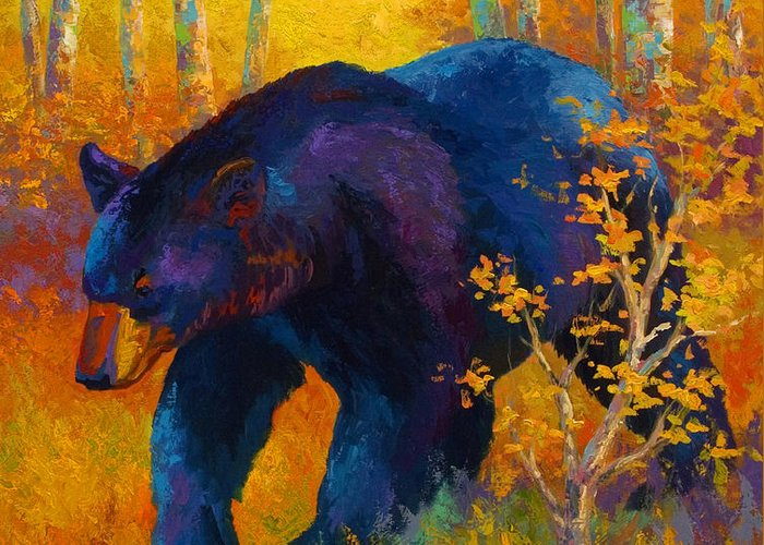 Bear Greeting Card featuring the painting In To Spring - Black Bear by Marion Rose
