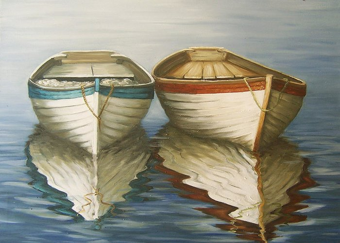 Seascape Ocean Reflection Water Boats Sea Greeting Card featuring the painting In Touch by Natalia Tejera