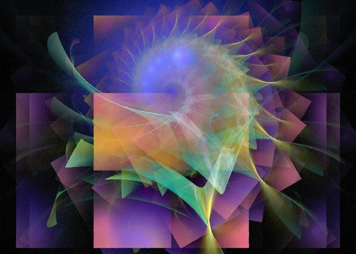 Abstract Greeting Card featuring the digital art In What Far Place by Nirvana Blues