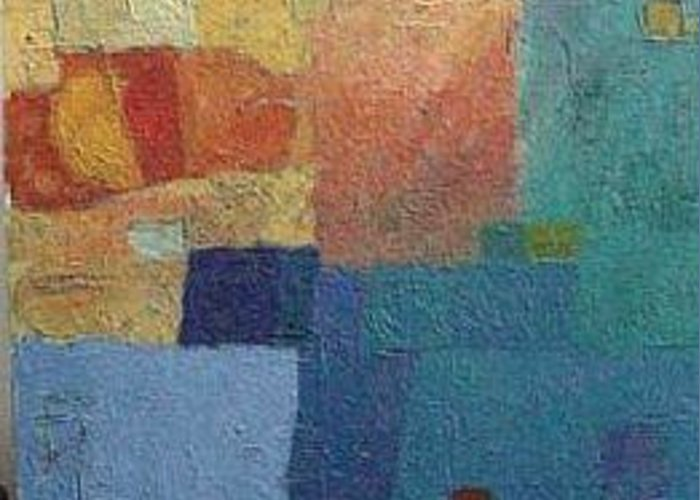 Abstract Greeting Card featuring the painting Inclinations Of Transition by Bernard Goodman