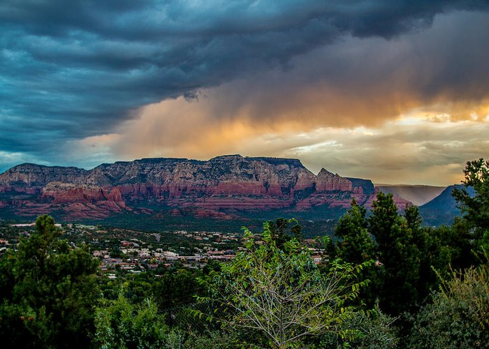 Storm Greeting Card featuring the photograph Incoming Storm Over Sedona by Susan Westervelt