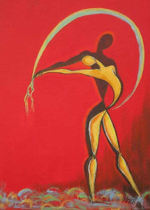 Red Greeting Card featuring the painting Indalo Touch by Melanie Bourne