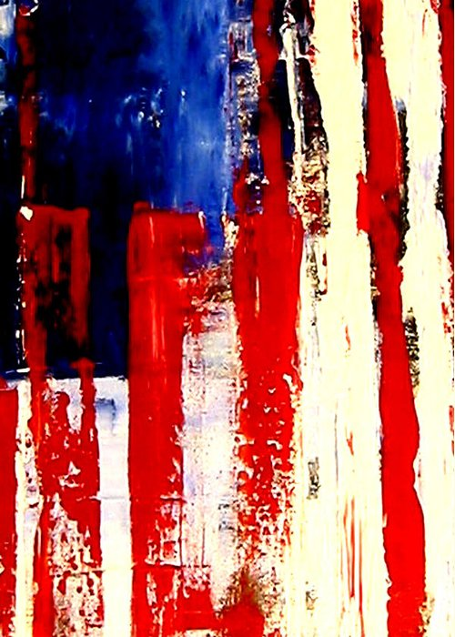 Flag Greeting Card featuring the painting Independence Day by Charles Jos Biviano
