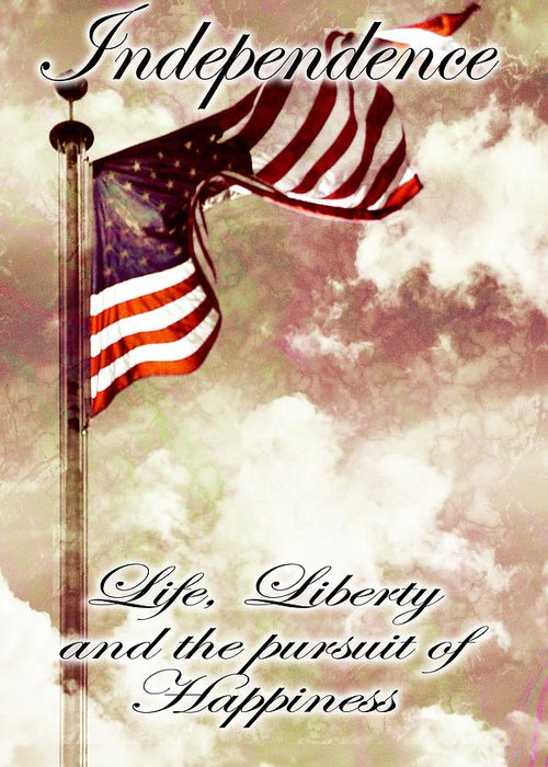 4 Greeting Card featuring the digital art Independence Day Usa by Phill Petrovic