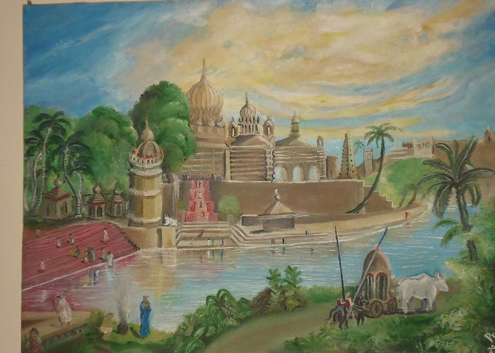 Landscape Greeting Card featuring the painting India by Prerit Jaiswal