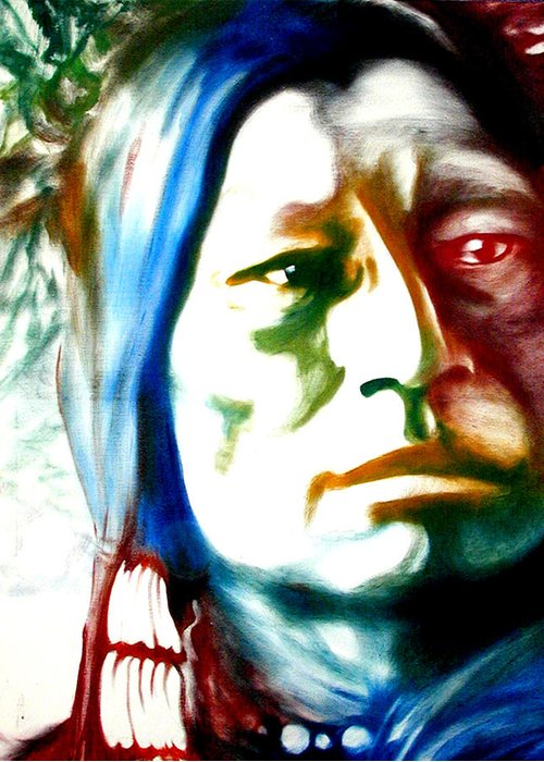 Portrait Greeting Card featuring the painting Indian 1 by Scott Robinson