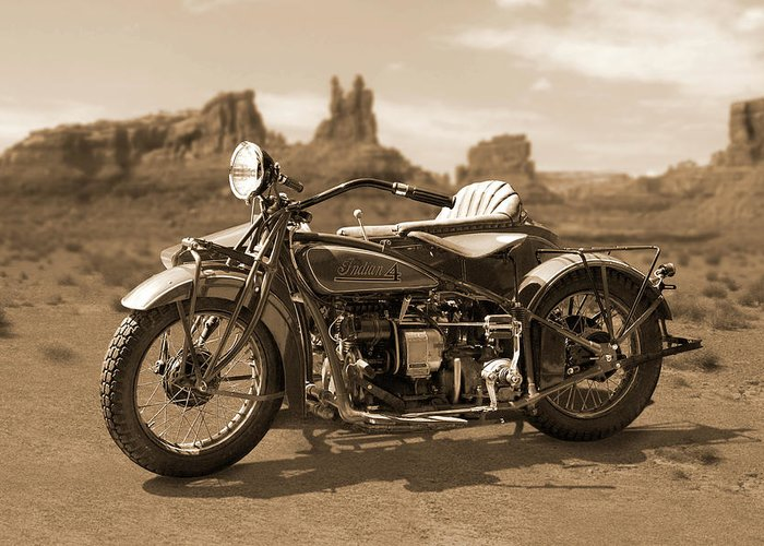 Indian Motorcycle Greeting Card featuring the photograph Indian 4 Sidecar by Mike McGlothlen
