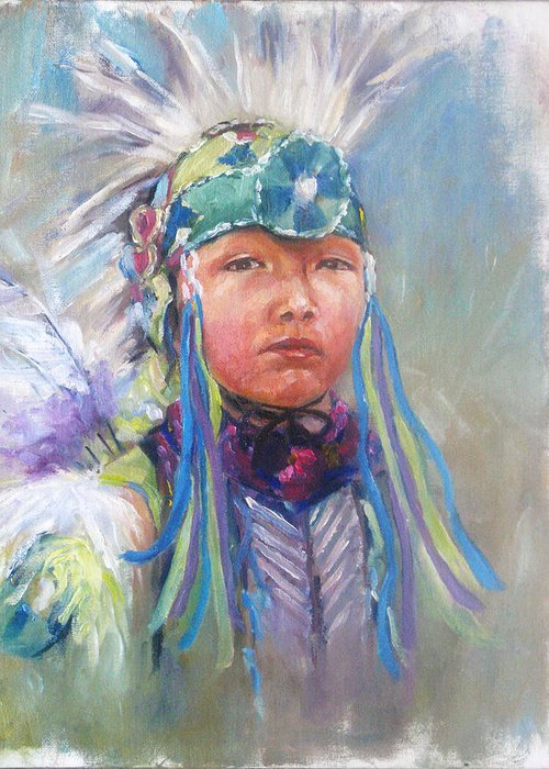 Original Oil Painting On Canvas . Indian Culture Greeting Card featuring the painting Indian Boy by Bin Feng