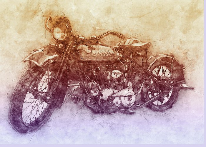 Indian Chief Greeting Card featuring the mixed media Indian Chief 2 - 1922 - Vintage Motorcycle Poster - Automotive Art by Studio Grafiikka