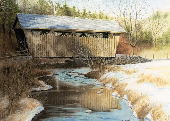 Pastel Greeting Card featuring the pastel Indian Creek Covered Bridge by James Clewell