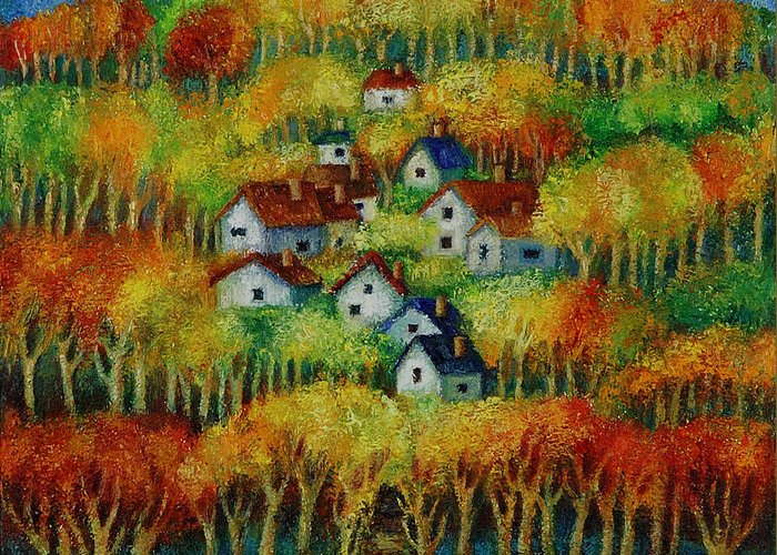 Landscape Greeting Card featuring the painting Indian Fall No 1. by Evgenia Davidov