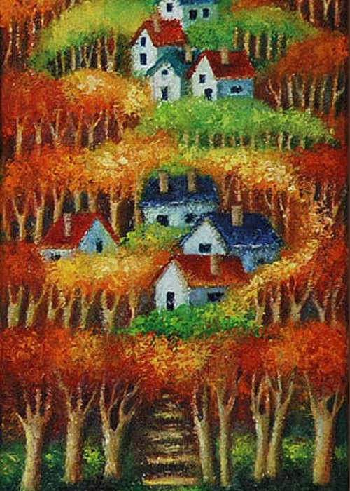 Landscape Greeting Card featuring the painting Indian Fall No 2. by Evgenia Davidov