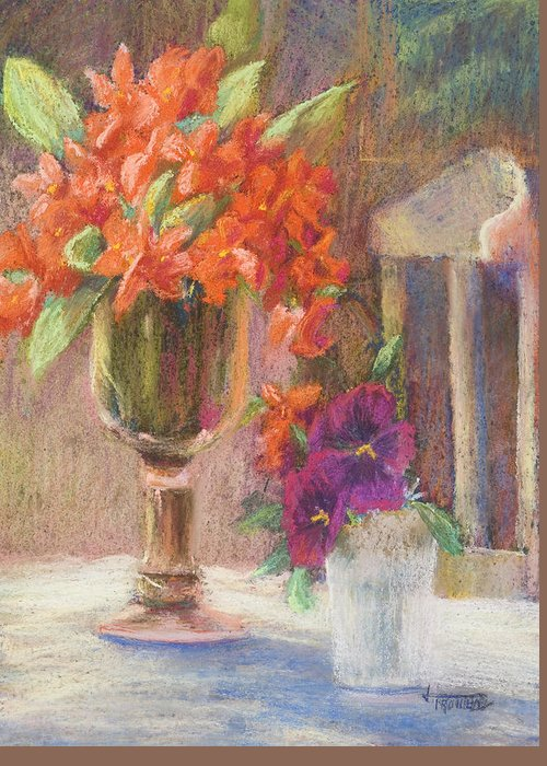 Still Life Greeting Card featuring the painting Indian Hawthorn With Pansys by Jimmie Trotter