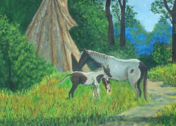 Landscape Greeting Card featuring the painting Indian Horses by Charles Vaughn