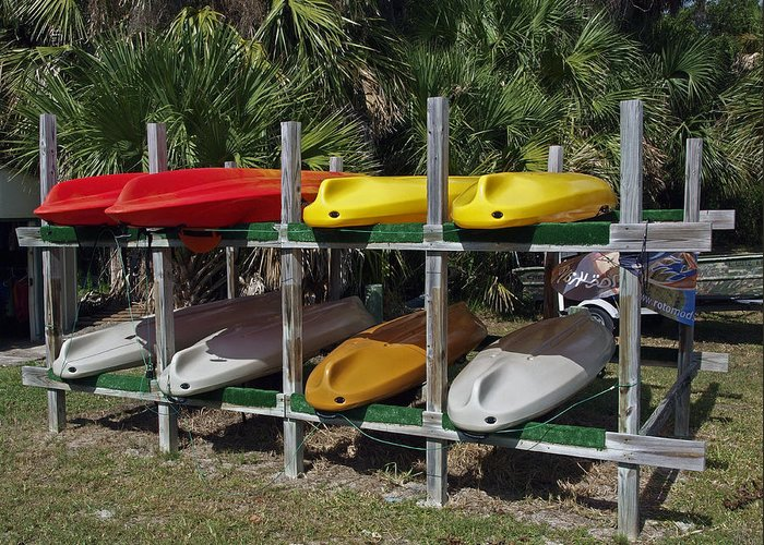 Kayak Greeting Card featuring the photograph Indian River In Florida by Allan Hughes