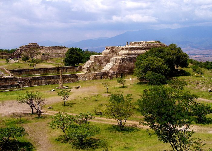 Monte Alban Greeting Card featuring the photograph Indian Ruins by Michael Peychich
