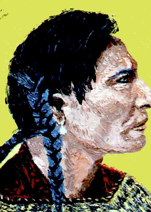 Indean Greeting Card featuring the painting Indian Side Profile by Stan Hamilton