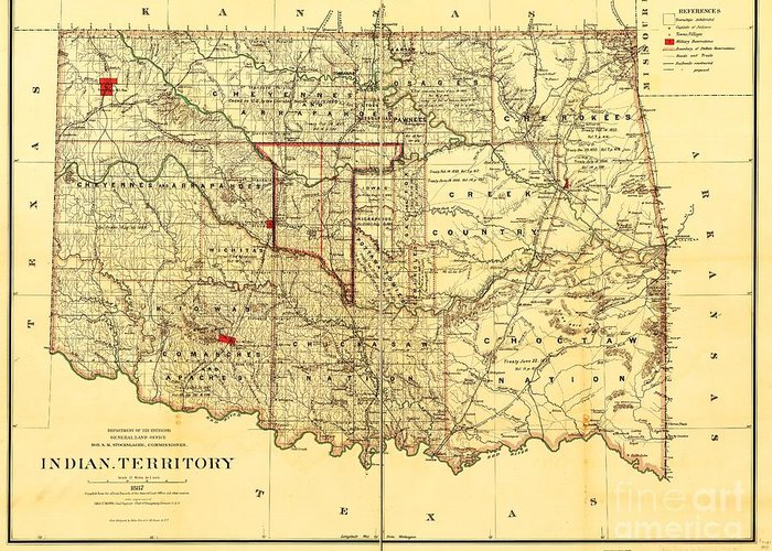 Reproduction Greeting Card featuring the drawing Indian Territory by Pg Reproductions