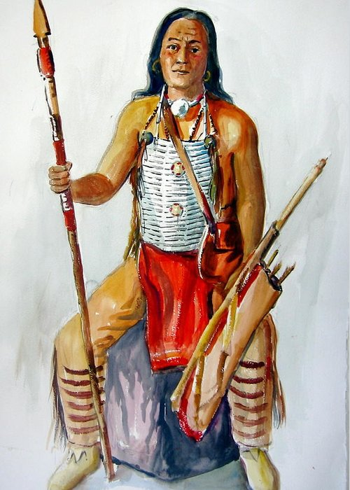 Indians Greeting Card featuring the painting Indian With Spear And Arrows by Murray Keshner