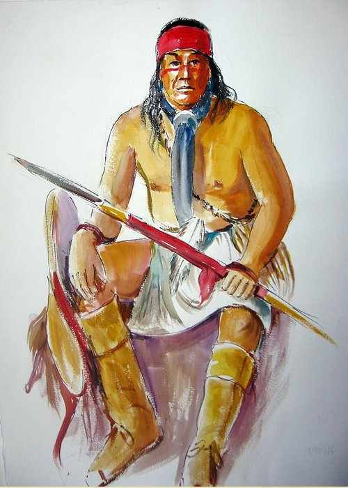Indians Greeting Card featuring the painting Indian With Spear by Murray Keshner