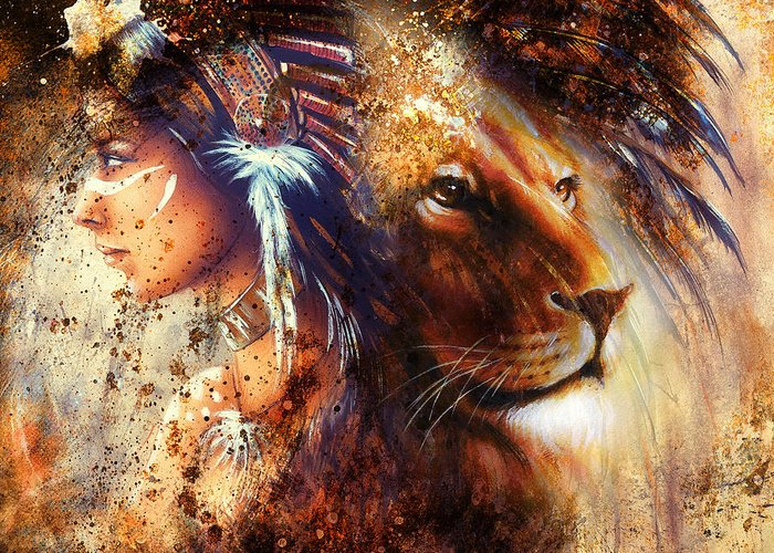 Lion Greeting Card featuring the painting Indian Woman Wearing Feather Headdress With Lion And Abstract Color Collage by Jozef Klopacka