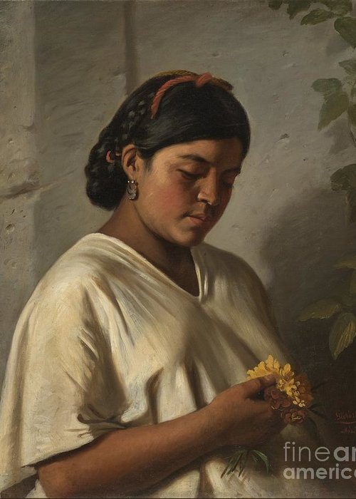 Indian Woman With Marigold (mujer Ind�gena Con Cempas�chil) Felipe Santiago Guti�rrez (mexico Greeting Card featuring the painting Indian Woman With Marigold by MotionAge Designs