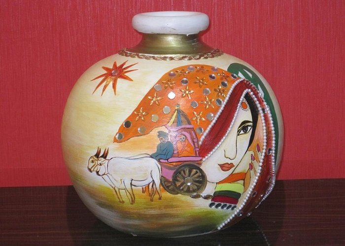 Rajastani Lady On Pot Greeting Card featuring the ceramic art Indian by Xafira Mendonsa