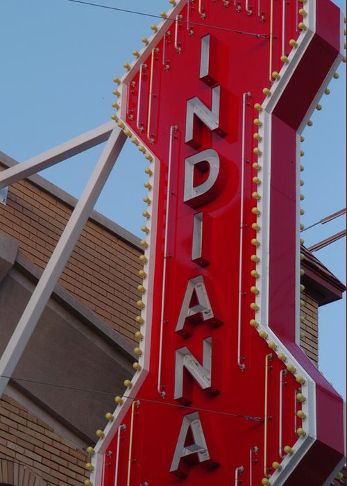 Sign Greeting Card featuring the photograph Indiana by Jon Benson