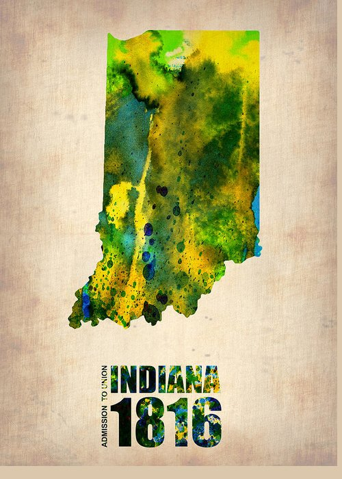 Indiana Greeting Card featuring the digital art Indiana Watercolor Map by Naxart Studio