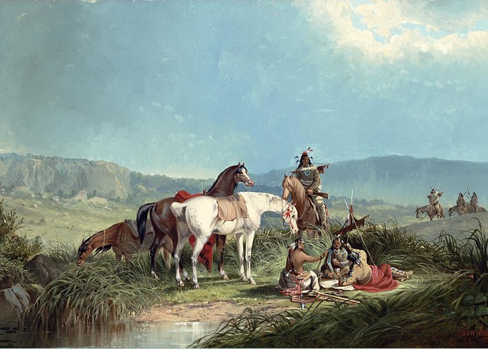 Indians Greeting Card featuring the painting Indians Playing Cards by John Mix Stanley