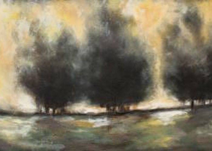 Landscape Greeting Card featuring the painting Indifferent by Ellen Lewis