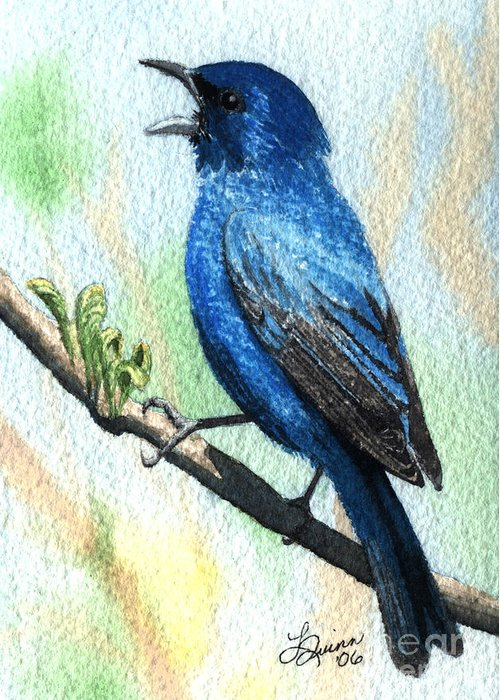 Bird Greeting Card featuring the painting Indigo Bunting by Lynn Quinn