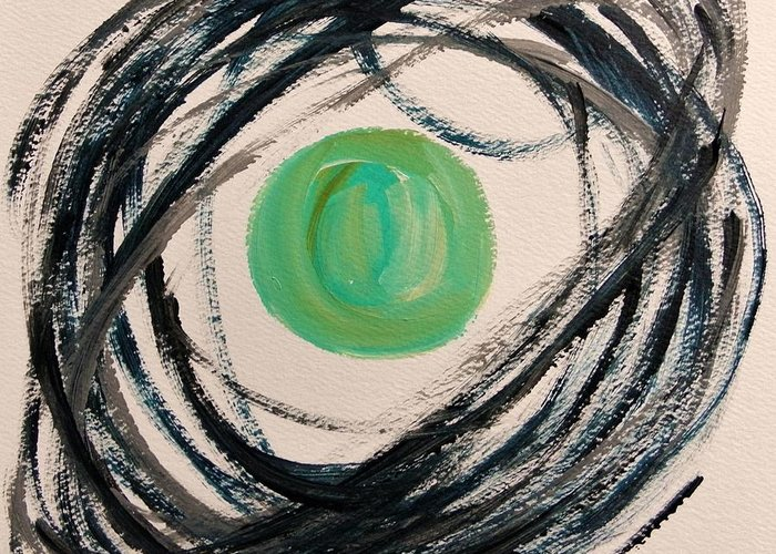 Abstract Greeting Card featuring the painting Indigo Capture by John Williams