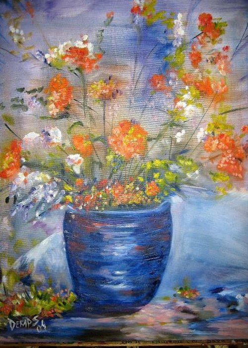 Still Life Greeting Card featuring the painting Indigo by Impressionist FineArtist Tucker Demps Collection