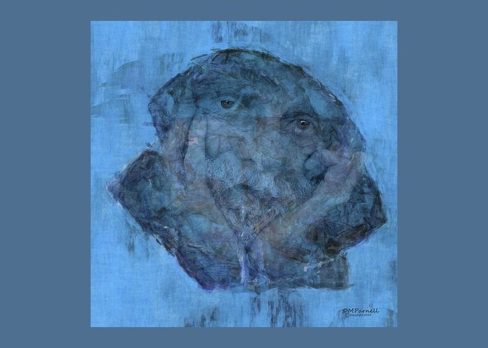 Blue Greeting Card featuring the digital art Indistincint Blues by Diane Parnell