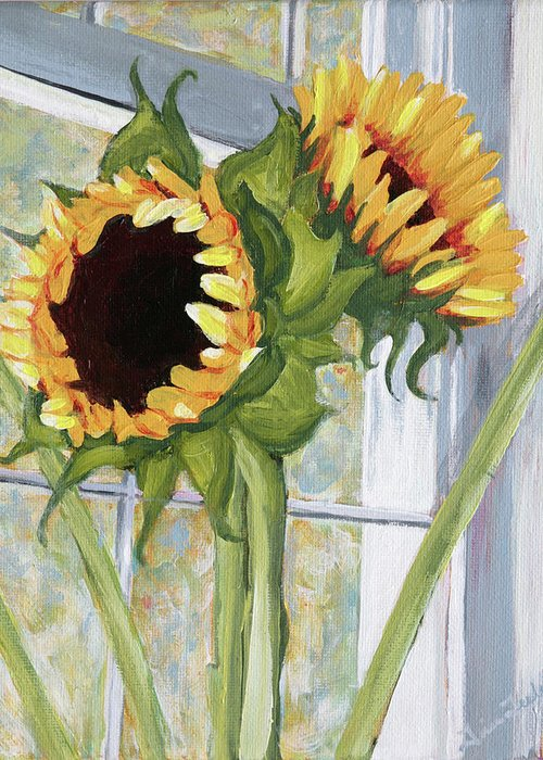 Sunflower Greeting Card featuring the painting Indoor Sunflowers II by Trina Teele