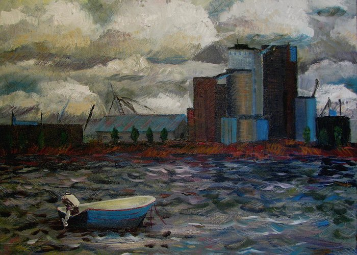 Industry Greeting Card featuring the painting Industrial Fishing by Art Nomad Sandra Hansen