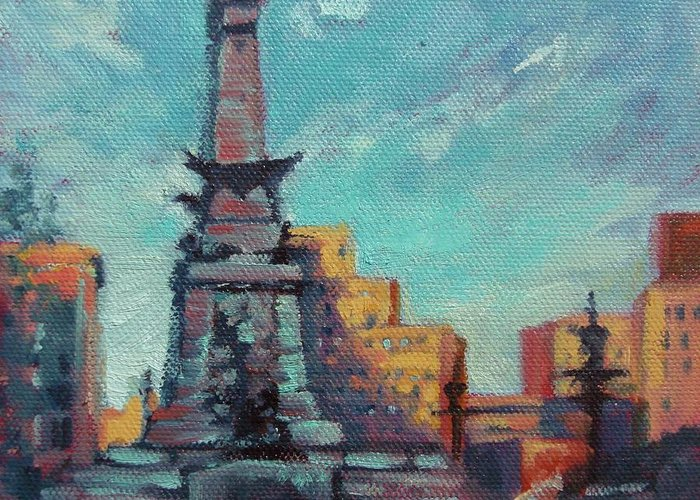Indianapolis Greeting Card featuring the painting Indy Circle- Day by Donna Shortt