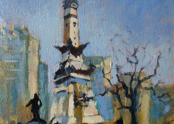 Indianapolis Greeting Card featuring the painting Indy Circle Monument by Donna Shortt