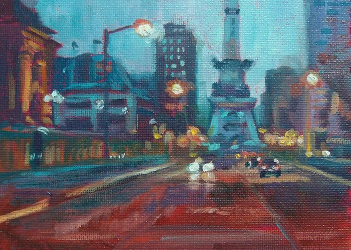 Indianapolis Greeting Card featuring the painting Indy Circle Night by Donna Shortt