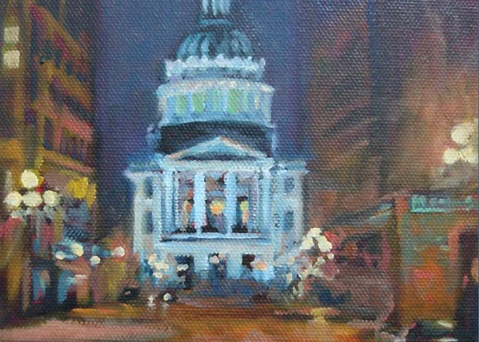 Indianapolis Greeting Card featuring the painting Indy Government Night by Donna Shortt