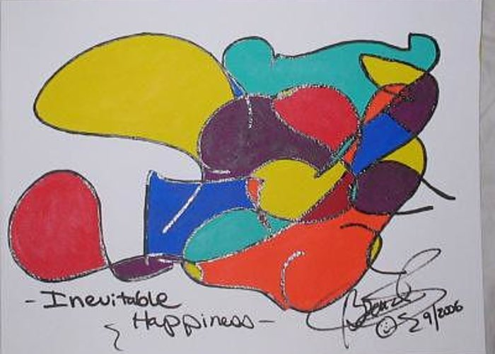 Abstract Greeting Card featuring the painting Inevitable Happiness by Brenda Basham Dothage
