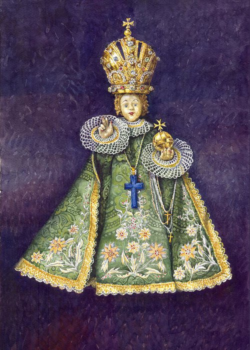 Watercolour Greeting Card featuring the painting Infant Jesus Of Prague by Yuriy Shevchuk