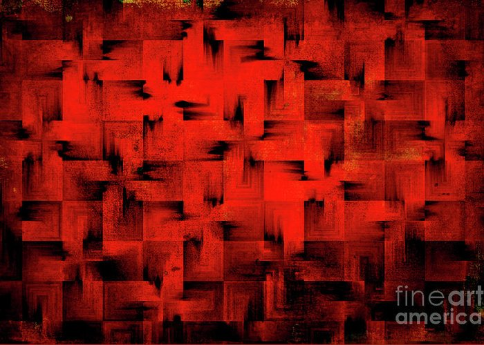Abstract Greeting Card featuring the digital art Inferno by Silvia Ganora