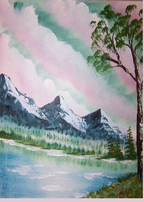 Lake Greeting Card featuring the painting Infinity by Laurie Kidd