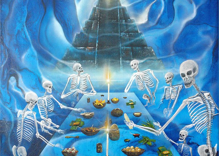 Human Skeleton Art Greeting Card featuring the painting Inframundo Underworld by Angel Ortiz